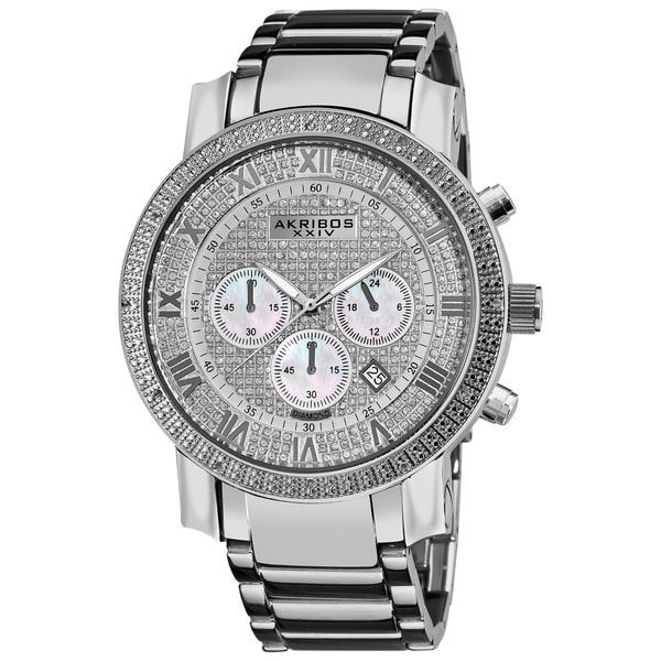 Akribos XXIV Men's Water-resistant Large Dial Diamond Accent Quartz Chronograph Silver-Tone Bracelet Watch