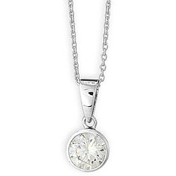 Simon Frank 14k White Gold Overlay CZ Bezel Solitaire Necklace