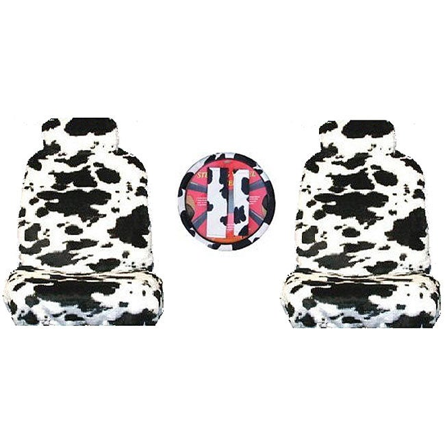 Cow Print 7-piece Car Accessories Set