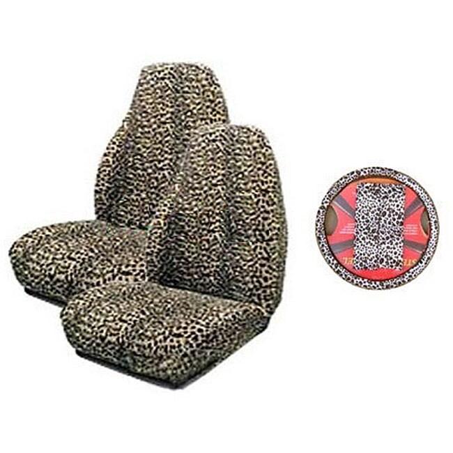 Tan Cheetah 5-piece Car Accessories Set