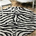 nuLOOM Zebra Animal Pattern Black/ White Wool Rug (8' Round)