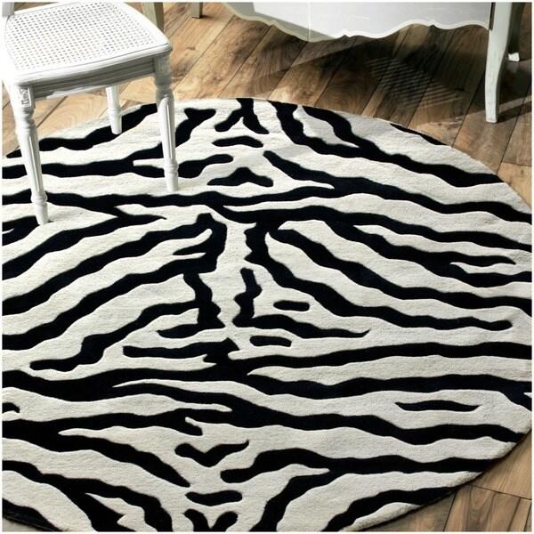 nuLOOM Zebra Animal Pattern Black/ White Wool Rug (8' Round)