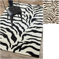 Handmade Alexa Zebra Animal Pattern Wool Rug (5&#39; x 8&#39;)