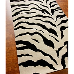 nuLOOM Handmade Animal Zebra Pattern Wool Rug (7'6 x 9'6)