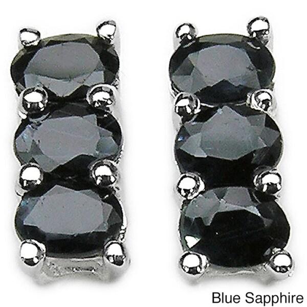 Malaika Sterling Silver Sapphire Earrings