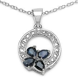 Malaika Blue Sapphire and Diamond Butterfly Necklace