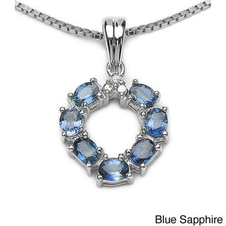 Malaika Blue, Green or Yellow Sapphire and Diamond Necklace