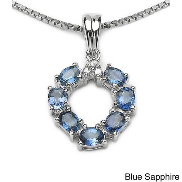 Malaika Blue, Green or Yellow Sapphire and Diamond Necklace