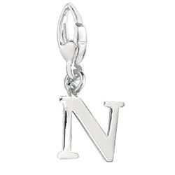 Sterling Silver Initial 'N' Charm
