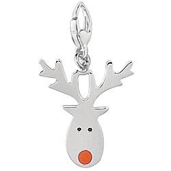 Sterling Silver Enamel Reindeer Charm