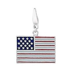 Sterling Silver Enamel American Flag Charm