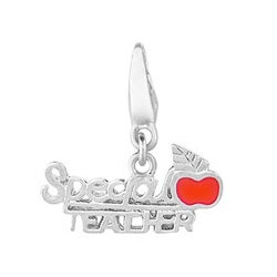 Sterling Silver Enamel Special Teacher with Apple Charm