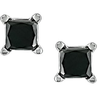 Haylee Jewels 14k Gold 1/3ct TDW Black Diamond Stud Earrings