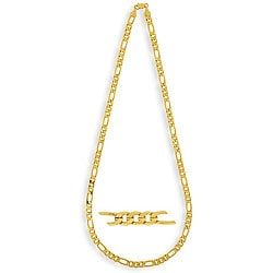 Simon Frank 14k Yellow Gold Overlay 30-inch Figaro Necklace