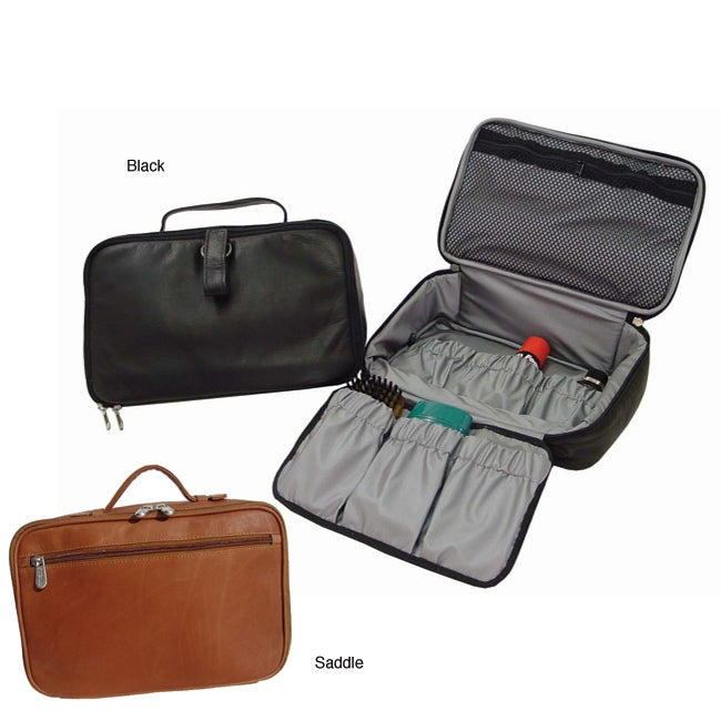 Piel Top Grain Leather Hanging Cosmetic Utility Kit