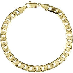 Simon Frank 14k Yellow Gold Overlay 8-inch Cuban Chain Bracelet