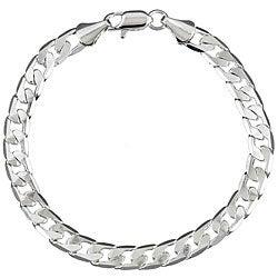 Simon Frank 14k White Gold Overlay 8-inch Cuban Chain Bracelet