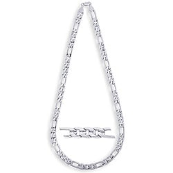 Simon Frank 14k White Gold Overlay 10mm Figaro Necklace (24-inch)