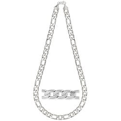 Simon Frank 14k White Gold Overlay 12mm Figaro Necklace (24-inch)