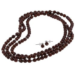 DaVonna Silver Chocolate FW Pearl 64-inch Necklace and Earring Set (7-8 mm)