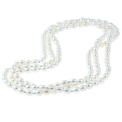 DaVonna Silver White FW Pearl 64-inch Necklace and Earring Set (7-8 mm)