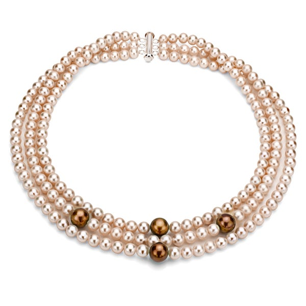 DaVonna Silver 3-row Pink and Brown FW Pearl Necklace (6-11 mm)