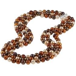 DaVonna Silver 3-row Dark Multi FW Pearl Necklace (8-9 mm)