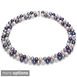 DaVonna Silver 2-row Multi 9-10mm FW Pearl Necklace with Gift Box