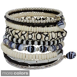 Handmade Ten Turn Bone and Bead Bracelet (India)