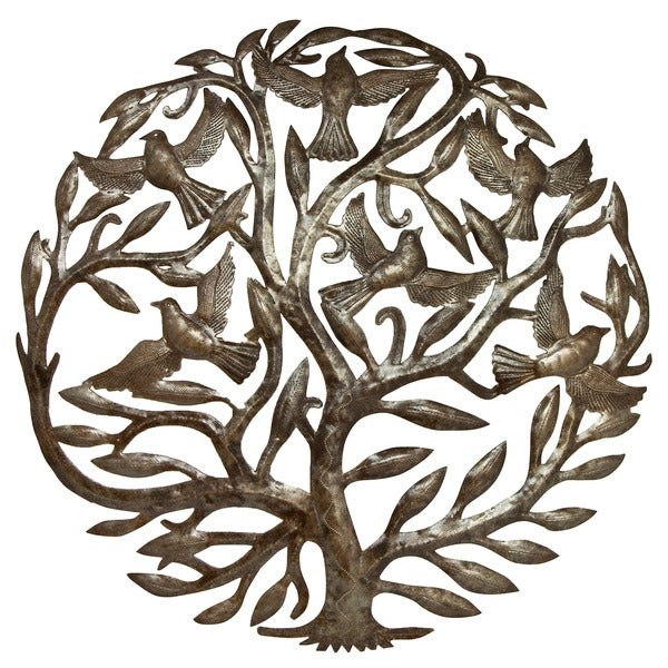 Metal 'Tree of Life' Oil Drum Art , Handmade in Haiti