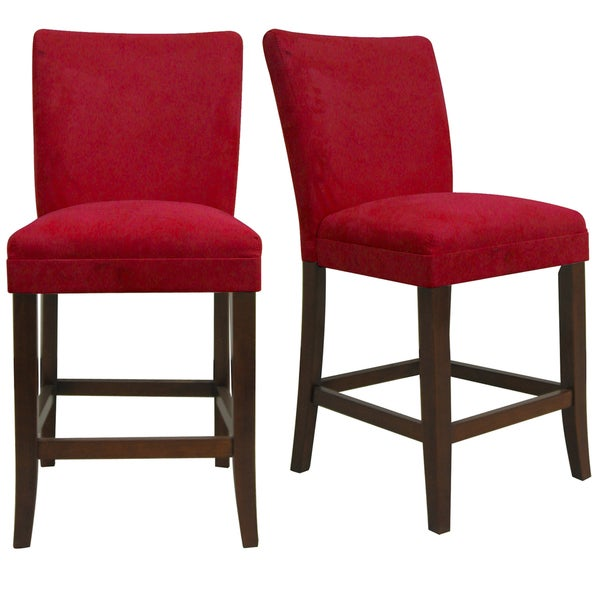 TRIBECCA HOME Parson Cranberry Red Counter Height Chairs ...