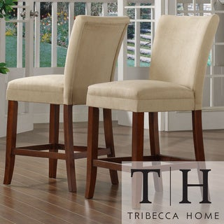 TRIBECCA HOME Parson Classic Cherry Peat Microfiber Counter-Height Chairs (Set of 2)