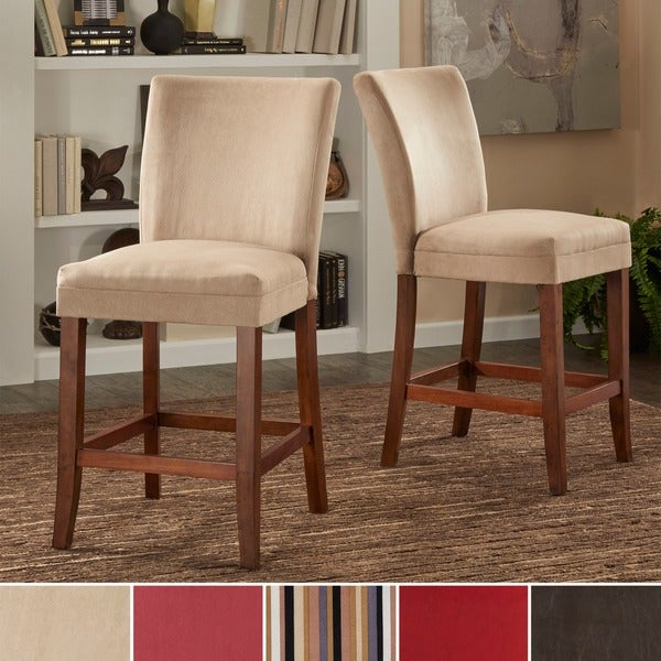 TRIBECCA HOME Parson Classic Upholstered Counter Height Chairs Set Of 2 O