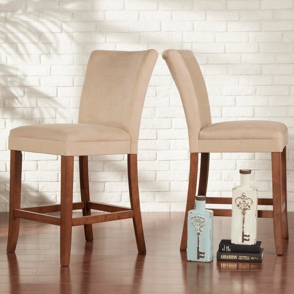 TRIBECCA HOME Parson Classic Upholstered Counter Height Chairs (Set of 2)
