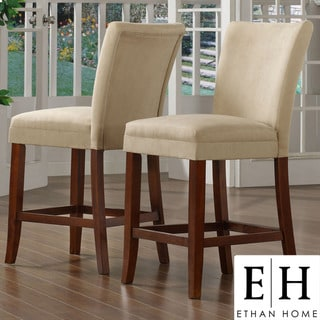 ETHAN HOME Parson Classic Cherry Peat Microfiber Counter-Height Chairs (Set of 2)