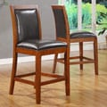Aiden Dark Chocolate Vinyl Counter-height Chairs (Set of 2)