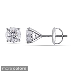 Miadora 14k White or Yellow Gold 1 1/2ct TDW Round Diamond Stud Earrings (G-H, SI2)