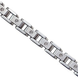 Men's Stainless Steel and 10k Gold 1/10ct TDW Diamond Bracelet