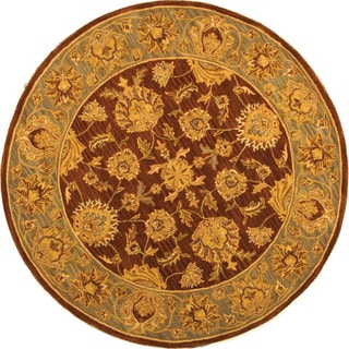 Safavieh Handmade Heritage Kerman Brown/ Blue Wool Rug (8' Round)