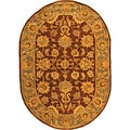 Handmade Heritage Kerman Brown/ Blue Wool Rug (7'6 x 9'6 Oval)