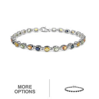 Malaika Silver Black or Multi-colored Sapphire or Tanzanite Bracelet