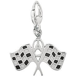 Sterling Silver Enamel Double Checkered Racing Flags Charm