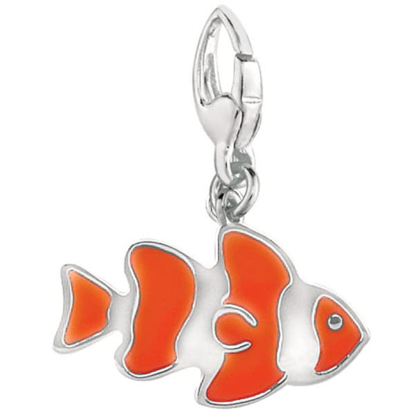 Sterling Silver Enamel Clown Fish Charm