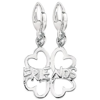Sterling Silver 4-leaf Clover 'Friends' Charm