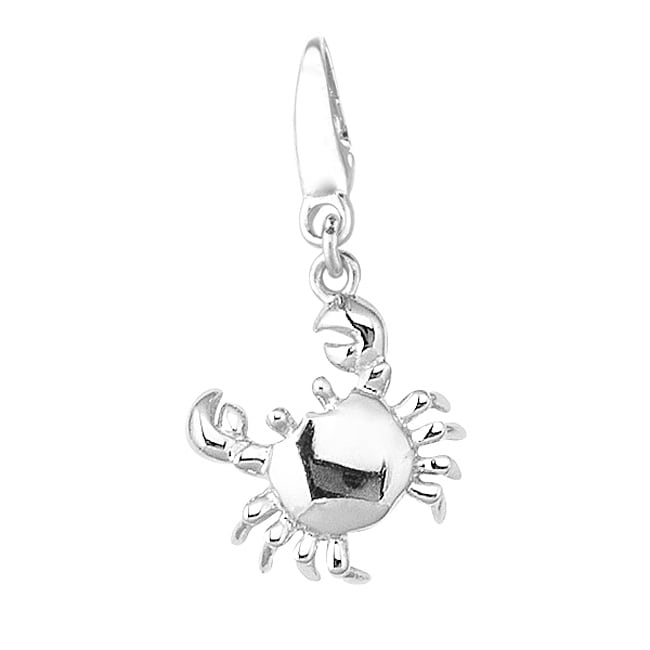 Nautical Sterling-silver Crab Dangle Charm with Clip-on Clasp