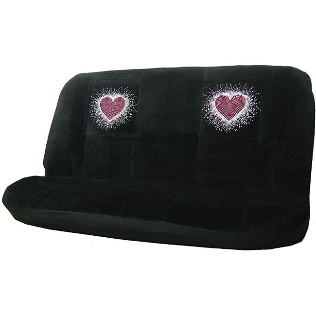 Sweet Red Heart Rhinestone Bench Seat Cover