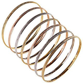 Nexte 14k Tri-color Gold Stackable Textured 'Semanario' Bangle (Set of 7)
