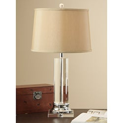 Crystal Column Table Lamp w/ Tan Shade