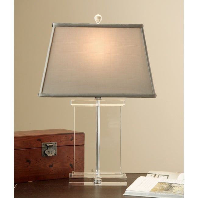 Crystal Rectangular Column Table Lamp (Sage)
