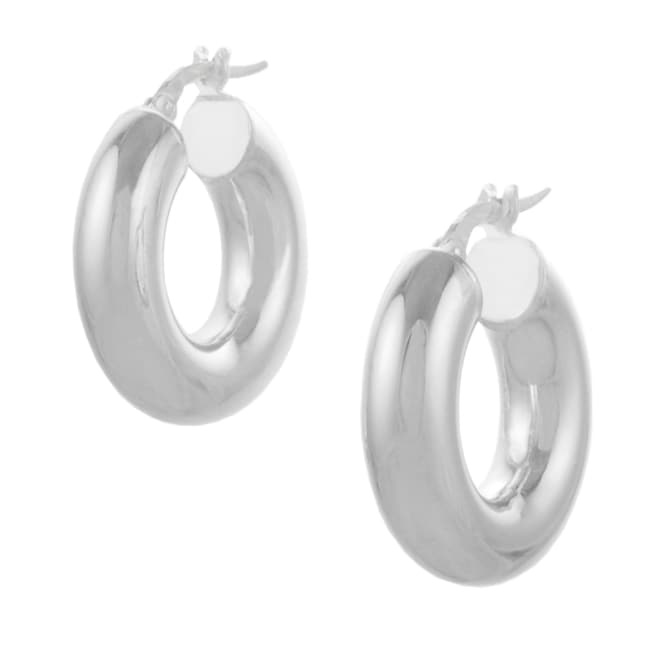 Journee Collection Italian Sterling Silver 11mm Hoop Earrings